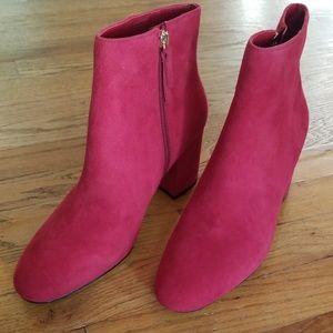 Aldo red suede booties